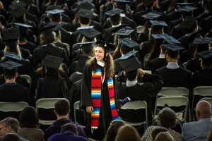 A student from Kenyon's 2017 Commencement.