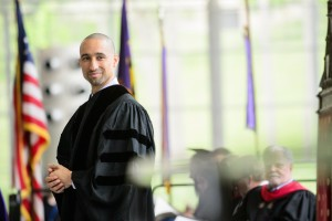 Shaka Smart '99 H'17 speaking at Kenyon's 189th Commencement.