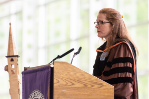 Professor of Mathematics Judy Holdener speaking at the Baccalaureate service on May 17, 2019
