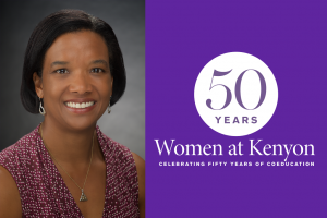 A photo of Carla Ainsworth next to a purple field with the 50 Years of Kenyon Women logo.