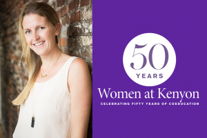 "A photo of Abi Barnes next to a purple field with the ""50 Years of Coeducation at Kenyon"" logo."