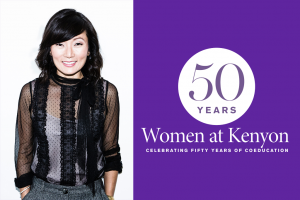 A portrait of Samie Falvey next to a purple field bearing the 50 Years of Kenyon Women logo.