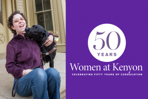 A photo of Jameyanne Fuller sitting on a porch and smiling, being licked by a black dog, next to a purple field bearing the 50 years of coeducation logo.