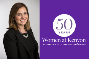 "A portrait of Jen Judson next to a purple field bearing the ""50 Years of Kenyon Women"" logo."