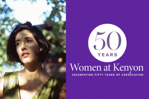 A portrait of Nandi Plunkett Levine next to a purple field bearing the 50 Years of Kenyon Women logo.