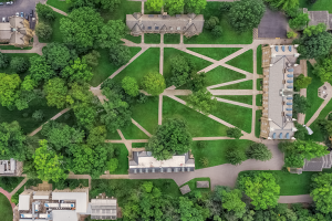 An aerial view of Kenyon's campus.