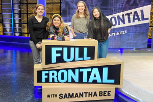 "Dylan Manning '22 (left) on the ""Full Frontal"" set."