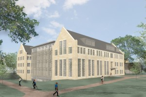 A rendering of the new library building.