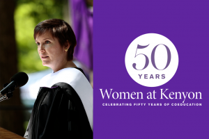 A photograph of Aileen Hefferren delivering a Commencement address next to a purple field displaying the 50 Years of Women at Kenyon logo.