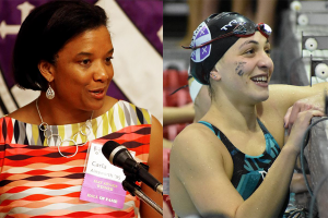 Carla Ainsworth (left) accepts an award on a stage; Hannah Orbach-Mandel (right) is pictured in a swimming pool.