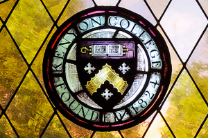 The Kenyon seal rendered in stained glass