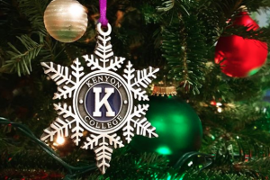 A Kenyon ornament hanging on a tree.