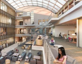 An architectural rendering of the interior of Kenyon's new library.