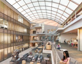 A rendering of the Kenyon Commons library.