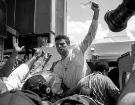 Leopoldo López protesting in the streets of Venezuela