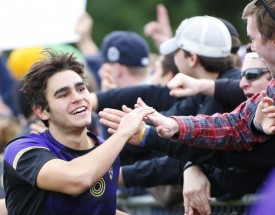 Henry Myers '18 greets soccer fans
