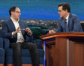 Nate Silver and Stephen Colbert.