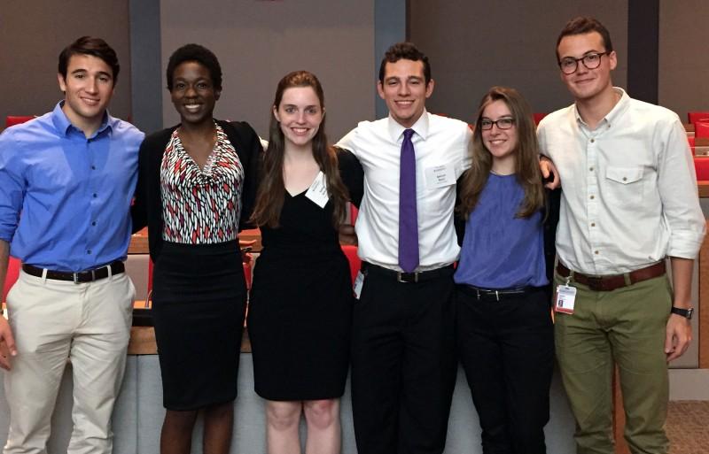 Pictured from left to right: Jason Cinti, Kenyatta Viel, Robin Belton, Spencer Byers,  Eliana McCann Smith and Trevor Manz.