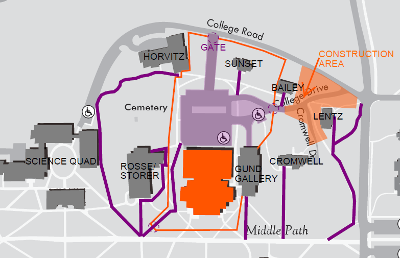 Map of walking routes around the West Quad construction site